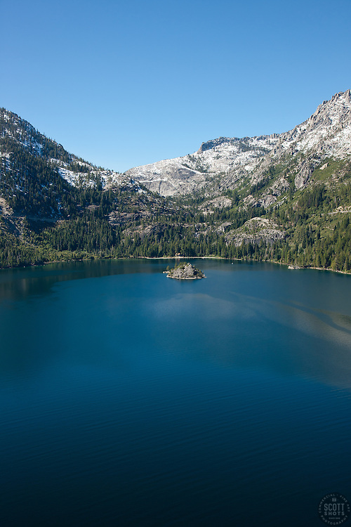 """""""Emerald Bay, Lake Tahoe Aerial 8"""" - Photograph of Emerald Bay in Lake Tahoe, shot from an amphibious seaplane with the door removed."""