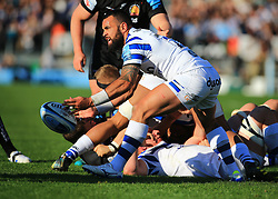 Bath's Kahn Fotuali'i releases the ball during the Gallagher Premiership match at Sandy Park, Exeter.