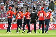 Wicket - Adil Rashid of England celebrates taking the wicket of Aaron Finch of Australia during the International T20 match between England and Australia at Edgbaston, Birmingham, United Kingdom on 27 June 2018. Picture by Graham Hunt.