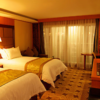 Asia, China, Yangtze. Junior Suite on the M/V Victoria Jenna, Yangtze River cruise.