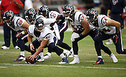 The Houston Texans offensive line for the punt special teams squad get set to snap the ball during pre game warmups before the 2014 NFL preseason football game against the Arizona Cardinals on Saturday, Aug. 9, 2014 in Glendale, Ariz. The Cardinals won the game in a 32-0 shutout. ©Paul Anthony Spinelli