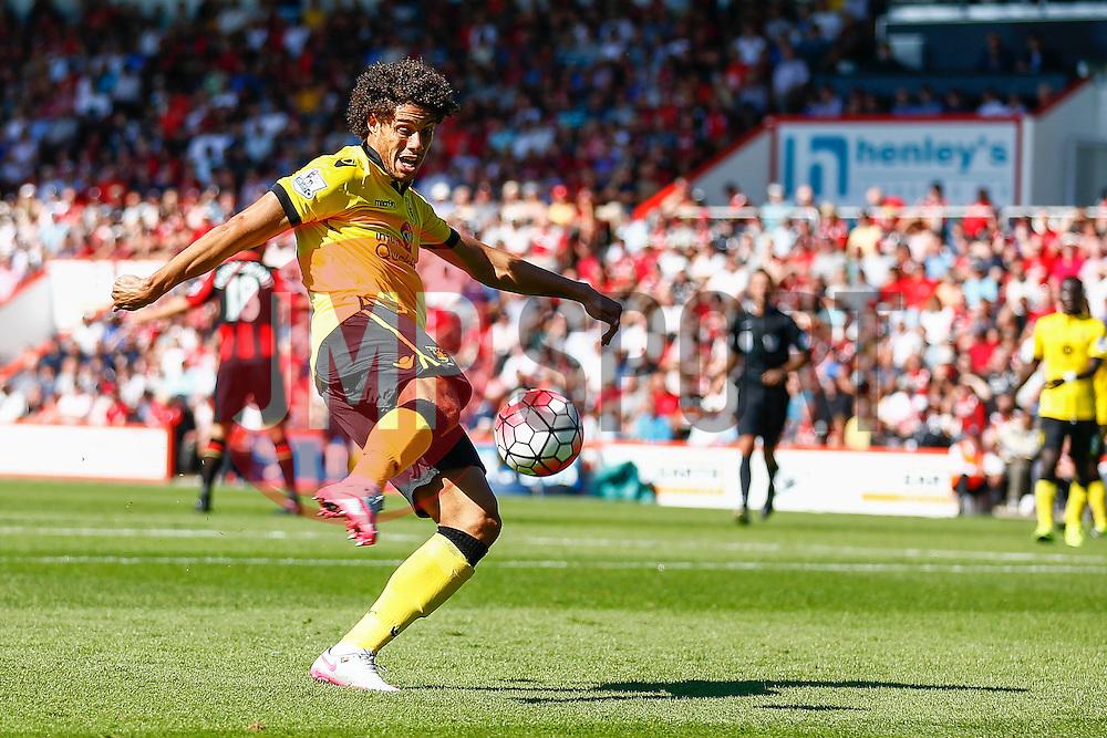 Rudy Gestede of Aston Villa shoots - Mandatory by-line: Jason Brown/JMP - Mobile 07966 386802 08/08/2015 - FOOTBALL - Bournemouth, Vitality Stadium - AFC Bournemouth v Aston Villa - Barclays Premier League - Season opener