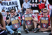 Fans performing a sit down protest during the Sky Bet Championship match between Charlton Athletic and Burnley at The Valley, London, England on 7 May 2016. Photo by Matthew Redman.