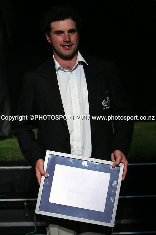 Doug Holloway poses for a photo after winning the PGA Order of Merit. New Zealand Golf Awards. Christchurch Convention Centre, Christchurch, New Zealand. Thursday 14 February 2008. Photo: Hagen Hopkins/PHOTOSPORT