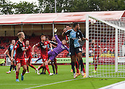Crawley Town goalkeeper Freddie Woodman watches as a chance hits the side netting during the Sky Bet League 2 match between Crawley Town and Wycombe Wanderers at the Checkatrade.com Stadium, Crawley, England on 29 August 2015. Photo by David Charbit.