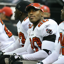 2007 December, 2: Buccaneers defensive back Ronde Barber (20) sits on the bench during a 27-23 win by the Tampa Bay Buccaneers over the New Orleans Saints at the Louisiana Superdome in New Orleans, LA.
