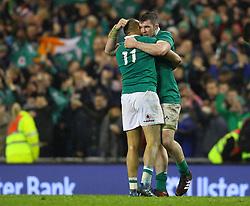 Peter O'Mahony celebrates with Simon Zebo - Mandatory by-line: Ken Sutton/JMP - 18/03/2017 - RUGBY - Aviva Stadium - Dublin,  - Ireland v England - RBS 6 Nations
