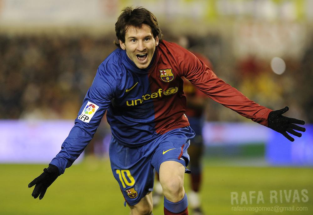 Barcelona's Argentinian Leo Messi celebrates his second goal during a Spanish league football match against Racing Santander on February 1, 2009, at Sardinero stadium in Santander. Barcelona won 2-1. PHOTO/Rafa Rivas