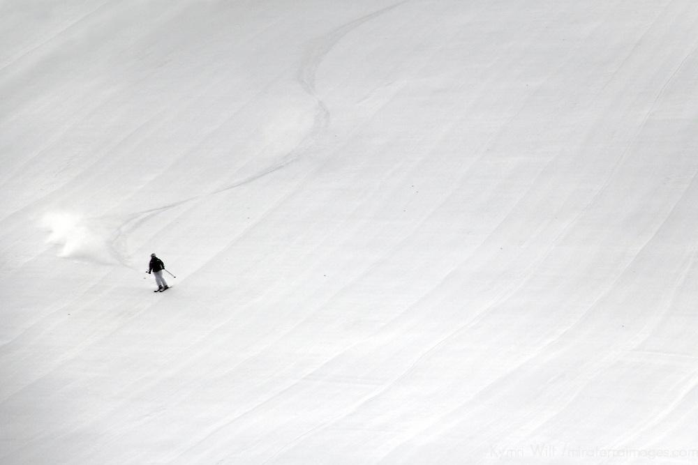 USA, Colorado, Beaver Creek. Skier on the slopes of the Beaver Creek Ski Resort.