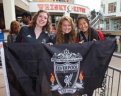CHARLOTTE, USA - Friday, August 1, 2014: Liverpool supporters Emily Aquila, Jenna Wertz and Hilary Davenport from Ohio at the Whisky River bar on day twelve of the club's USA Tour. (Pic by David Rawcliffe/Propaganda)