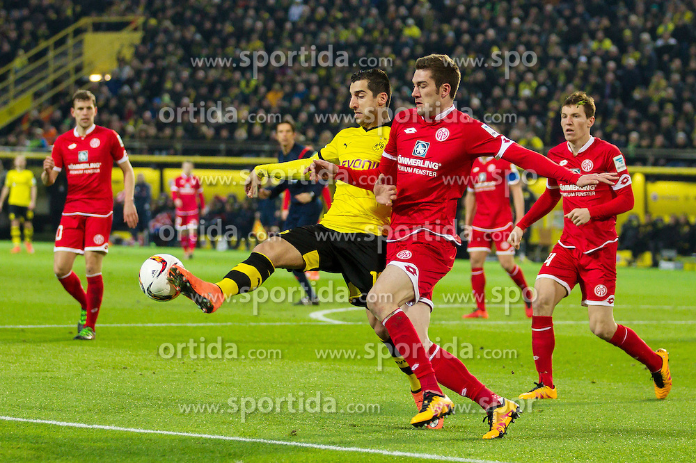 13.03.2016, Signal Iduna Park, Dortmund, GER, 1. FBL, Borussia Dortmund vs 1. FSV Mainz 05, 26. Runde, im Bild Stefan Bell (FSV Mainz 05 #16) im Zweikampf gegen Henrikh &quot;Micki&quot; Mkhihtaryan (Borussia Dortmund #10) // during the German Bundesliga 26th round match between Borussia Dortmund and 1. FSV Mainz 05 at the Signal Iduna Park in Dortmund, Germany on 2016/03/13. EXPA Pictures &copy; 2016, PhotoCredit: EXPA/ Eibner-Pressefoto/ Schueler<br /> <br /> *****ATTENTION - OUT of GER*****