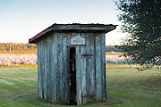 Outside privy toilet hut in slave quarters at cotton plantation at Frogmore Farm in the Deep South, Louisiana, USA