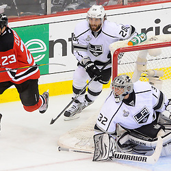June 9, 2012: New Jersey Devils right wing David Clarkson (23) chases a rebound knocked away by Los Angeles Kings goalie Jonathan Quick (32) during first period action in game 5 of the NHL Stanley Cup Final between the New Jersey Devils and the Los Angeles Kings at the Prudential Center in Newark, N.J.