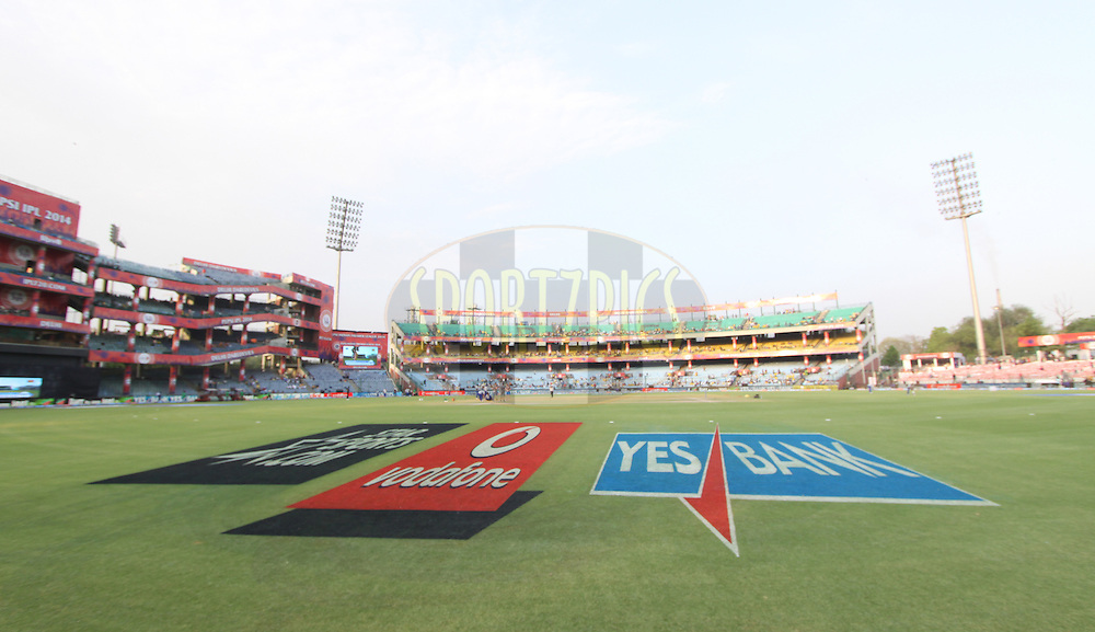 Sponcers branding on ground during match 26 of the Pepsi Indian Premier League Season 2014 between the Delhi Daredevils and the Chennai Superkings held at the Ferozeshah Kotla cricket stadium, Delhi, India on the 5th May  2014<br /> <br /> Photo by Arjun Panwar / IPL / SPORTZPICS<br /> <br /> <br /> <br /> Image use subject to terms and conditions which can be found here:  http://sportzpics.photoshelter.com/gallery/Pepsi-IPL-Image-terms-and-conditions/G00004VW1IVJ.gB0/C0000TScjhBM6ikg