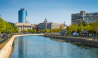BUCHAREST, ROMANIA - September 29, 2012: View of the Dâmbovi?a River in Bucharest.