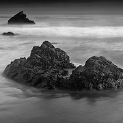 Barnacle Rocks Long Exposure - San Simeon Beach - Dusk -  Black & White