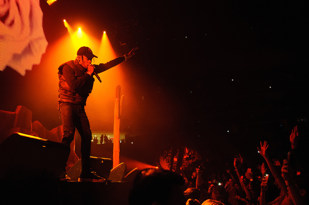 """Photos of Travis Scott performing live for """"The Madness Fall Tour"""" at Prudential Center in Newark, NJ on November 11, 2015. © Matthew Eisman/ Getty Images. All Rights Reserved"""