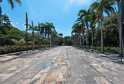 A roadway leading away from a museum dedicated to Simon Bolivar