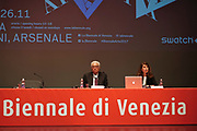 57th Art Biennale in Venice - Viva Arte Viva.<br /> Opening Press Conference.<br /> Biennale President Paolo Baratta, Curator Christine Macel.