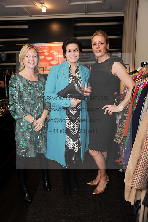 Left to right, JESSICA POWNAL, actress GEORGIA MACKENZIE and ALICE KODELL at a private view of Atelier-Mayer.com's collection held at 131 Oakwood Court, London, on 24th November 2009.