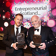 FREE PICTURES :   Entrepreneurial Scotland Annual Entrepreneur of the Year 2016 awards at the Double Tree by Hilton in Glasgow. L to R : Emerging Entrepreneur of the Year 2016 -  Chris Gauld. CEO Spark Energy.   Entrepreneur of the Year 2016 -  James Milne CBE. Chairman and MD of Balmoral Group.  Picture Robert Perry 30th Nov 2016<br /> <br /> Please credit photo to Robert Perry<br /> <br /> Image is free to use in connection with the promotion of the above company or organisation. 'Permissions for ALL other uses need to be sought and payment make be required.<br /> <br /> <br /> Note to Editors:  This image is free to be used editorially in the promotion of the above company or organisation.  Without prejudice ALL other licences without prior consent will be deemed a breach of copyright under the 1988. Copyright Design and Patents Act  and will be subject to payment or legal action, where appropriate.<br /> www.robertperry.co.uk<br /> NB -This image is not to be distributed without the prior consent of the copyright holder.<br /> in using this image you agree to abide by terms and conditions as stated in this caption.<br /> All monies payable to Robert Perry<br /> <br /> (PLEASE DO NOT REMOVE THIS CAPTION)<br /> This image is intended for Editorial use (e.g. news). Any commercial or promotional use requires additional clearance. <br /> Copyright 2016 All rights protected.<br /> first use only<br /> contact details<br /> Robert Perry     <br /> 07702 631 477<br /> robertperryphotos@gmail.com<br />        <br /> Robert Perry reserves the right to pursue unauthorised use of this image . If you violate my intellectual property you may be liable for  damages, loss of income, and profits you derive from the use of this image.