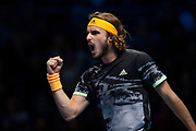 Stefanos Tsitsipas of Greece reacts  during the Nitto ATP Finals at the O2 Arena, London, United Kingdom on 15 November 2019.
