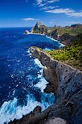 Rugged coastline of Cap de Formentor on Majorca,  Balearic Islands, Mediterranean Sea, Spain