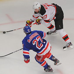 May 14, 2012: New Jersey Devils left wing Ilya Kovalchuk (17) tries to skate around New York Rangers defenseman Ryan McDonagh (27) during second period action in game 1 of the NHL Eastern Conference Finals between the New Jersey Devils and New York Rangers at Madison Square Garden in New York, N.Y.