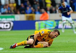 Diogo Jota of Wolverhampton Wanderers picks up an injury from Phil Jagielka of Everton - Mandatory by-line: Nizaam Jones/JMP - 11/08/2018/ - FOOTBALL -Molineux  - Wolverhampton, England - Wolverhampton Wanderers v Everton - Premier League