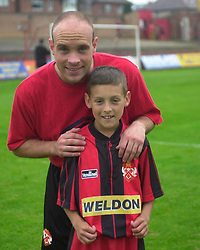MASCOT ROSS WITH DALE WATKINS, Kettering Town v Leicester City Fiendly, Rockingham Road 2nd August 2001