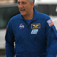 "Astronaut Mike Massimino, the first astronaut to ""Tweet"" from space is seen at the Kennedy Space Center Thursday, July 7, 2011, in Cape Canaveral, Fla. Shuttle Atlantis is scheduled to launch on Friday, July 8 and is the 135th and final space shuttle launch for NASA..  (AP Photo/Alex Menendez)"
