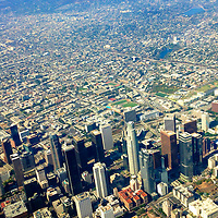 USA, California, Los Angeles. Aerial view of downtown Los Angeles with Hollywood Hills in distance.