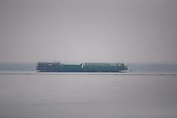 Ferry Boat Obscured by Rising Fog, San Juan Islands, Washington, US