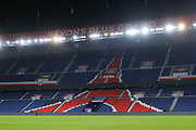 Illustration of Eiffel Tower painted in seats of stands and over written Revons Plus Grand during the French Championship Ligue 1 football match between Paris Saint-Germain and ESTAC Troyes on November 29, 2017 at Parc des Princes stadium in Paris, France - Photo Stephane Allaman / ProSportsImages / DPPI