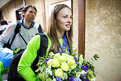 Andrea Massi and Tina Maze of Slovenia, 2-times gold winner during reception at arrival from Sochi Winter Olympic Games 2014 on February 23, 2014 in Airport Zagreb, Croatia. Photo by Vid Ponikvar / Sportida