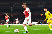 Arsenal Defender Nacho Monreal (18) in action during the Europa League round of 32, leg 2 of 2 match between Arsenal and BATE Borisov at the Emirates Stadium, London, England on 21 February 2019.