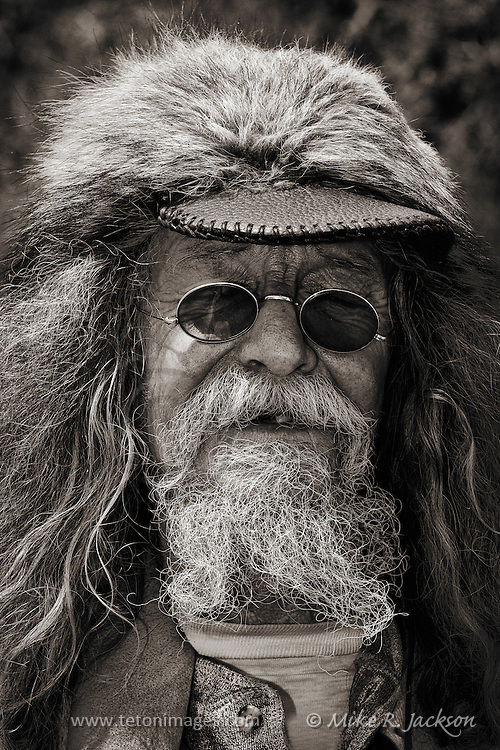 Mountain Man portrait of a participant at the Cache Valley Rendezvous in northern Utah.