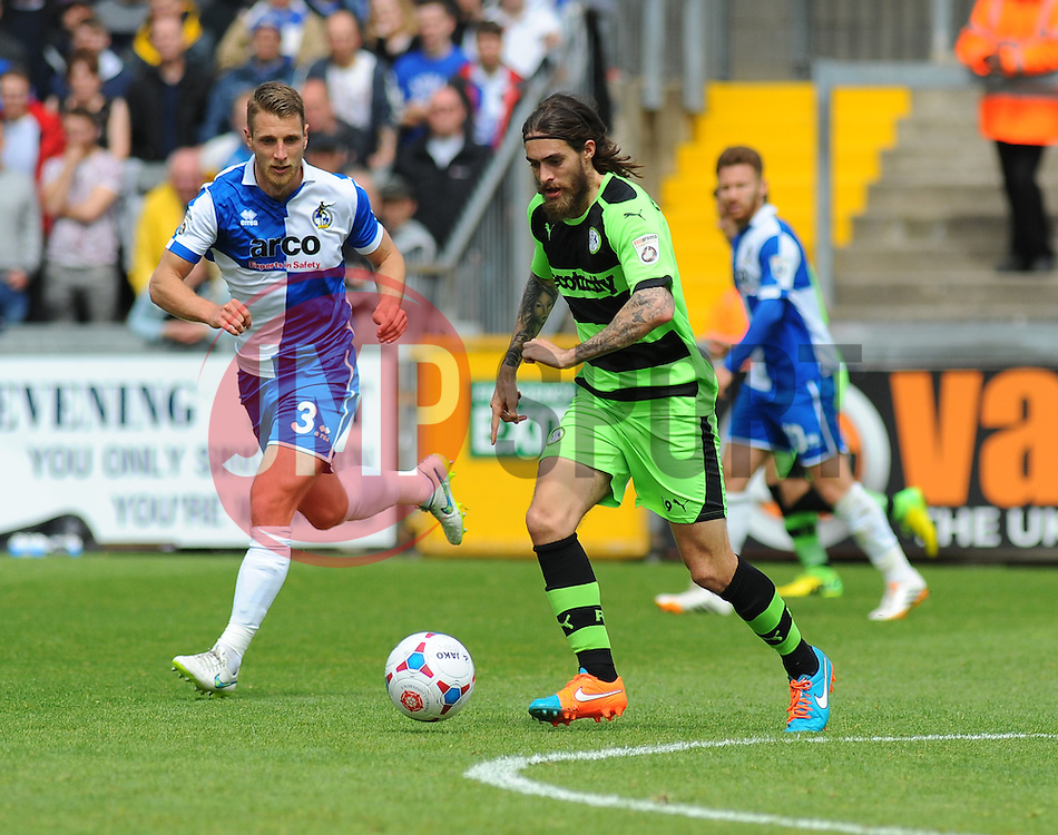 Forest Green Rovers's Rob Sinclair and Bristol Rovers' Lee Brown in action at the Memorial Stadium. - Photo mandatory by-line: Nizaam Jones /JMP - Mobile: 07966 386802 - 03/05/2015 - SPORT - Football - Bristol - Memorial Stadium - Bristol Rovers v Forest Green Rovers - Vanarama Football Conference.