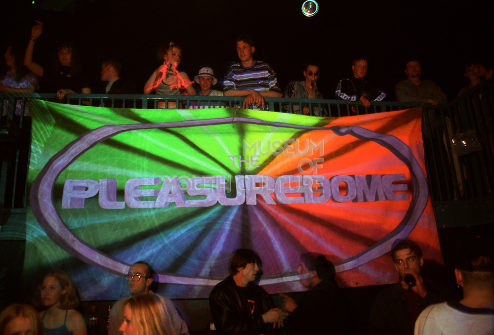 Group around a banner, Pleasuredome, 1997.