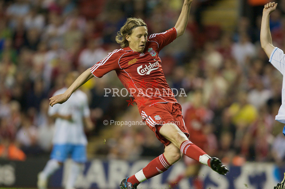 LIVERPOOL, ENGLAND - Wednesday, May 7, 2008: Liverpool's Lucas Levia scores the third goal against Aston Villa during the play-off final of the FA Premier League Reserve League at Anfield. (Photo by David Rawcliffe/Propaganda)