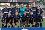 North Carolina Courage poses for a team photo prior to their game against Manchester City during an International Champions Cup women's soccer game, Thurday, Aug. 15, 2019, in Cary, NC. The North Carolina Courage defeated Manchester City Women 2-1.  (Brian Villanueva/Image of Sport)