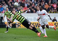 FUSSBALL  1. BUNDESLIGA  SAISON 2011/2012  29. Spieltag   07.04.2012 VfB Stuttgart - 1. FSV Mainz Adam Szalai (li, 1. FSV Mainz 05) gegen Arthur Boka (VfB Stuttgart)