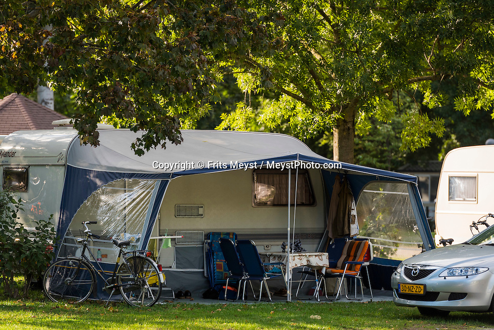 Tulln, Danube, Lower Austria, September 2015. Donaupark Camping Tulln is located directly on the Donau Radweg Bike Path. Austria's most spectacular section of the Danube is the dramatic stretch of river between Krems an der Donau and Melk, known as the Wachau. Here the landscape is characterised by vineyards, forested slopes, wine-producing villages and imposing fortresses at nearly every bend. The Wachau is today a Unesco World Heritage site, due to its harmonious blend of natural and cultural beauty. Photo by Frits Meyst / MeystPhoto.com
