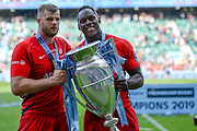 Saracens lock Maro Itoje (6) holds the trophy with Saracens lock George Kruis (5) during the Gallagher Premiership Rugby Final match between Exeter Chiefs and Saracens at Twickenham, Richmond, United Kingdom on 1 June 2019.