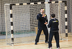 Primoz Prost and coach Herman Wirth during the Training Camp before IHF Men's Handball World Championship Spain 2013 on January 9, 2013 in Zrece, Slovenia. (Photo By Vid Ponikvar / Sportida.com)