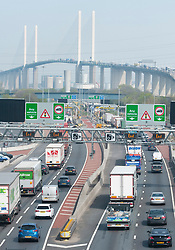 &copy; Licensed to London News Pictures. 18/04/2019.<br /> Dartford,UK. Dartford Crossing and Queen Elizabeth II Bridge. The Easter getaway traffic has started today with families setting out for a bank holiday weekend break. Very heavy traffic anti-clockwise causing miles of queues on the A282 Dartford crossing approach in Kent. Photo credit: Grant Falvey/LNP
