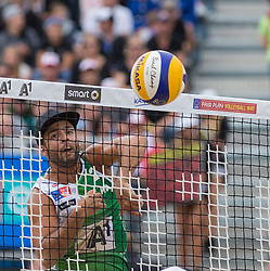 02.08.2015, Strandbad, Klagenfurt, AUT, A1 Beachvolleyball EM 2015, Finale Herren, im Bild Adrian Ignacio Carambula 2 ITA// during Final Match Men, of the A1 Beachvolleyball European Championship at the Strandbad Klagenfurt, Austria on 2015/08/02. EXPA Pictures © 2015, EXPA Pictures © 2015, PhotoCredit: EXPA/ Mag. Gert Steinthaler