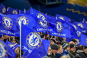 Chelsea flags during the Champions League match between Chelsea and Barcelona at Stamford Bridge, London, England on 20 February 2018. Picture by Martin Cole.