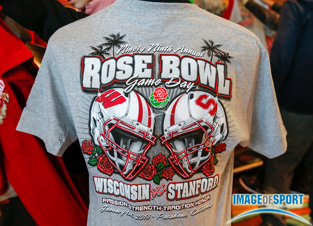 Dec 31, 2012; Pasadena, CA, USA; New years eve Rose Bowl souvenir T-Shirts for sale before the game between the Stanford Cardinal and the Wisconsin Badgers.