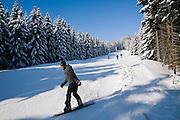 Wurmberg, Skihang, Snowboardfahrer, Wald, Schnee, Winter, Braunlage, Harz, Niedersachsen, Deutschland | Wurmberg, snowboarder, forest, snow, winter, Braunlage, Harz, Lower Saxony, Germany